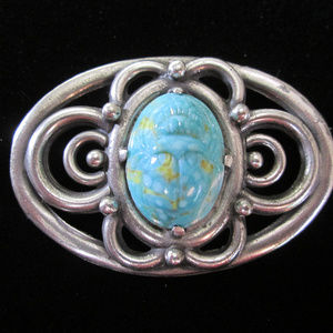 1930s Egyptian Revival Brooch SCARAB Coin Silver
